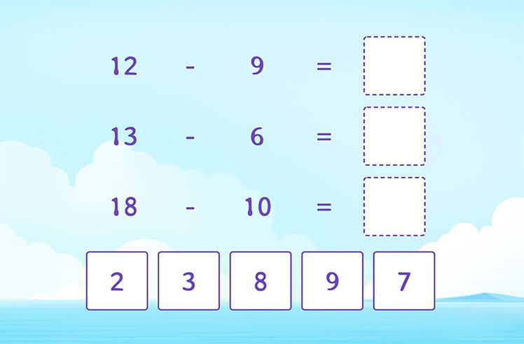 Match by Subtracting from a Teen Number