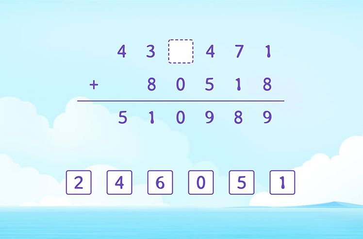 Fill the Missing Number and Complete the Addition Solution