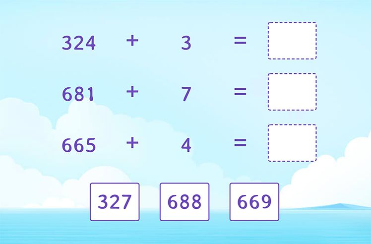 Add 3-Digit and 1-Digit Numbers and Match
