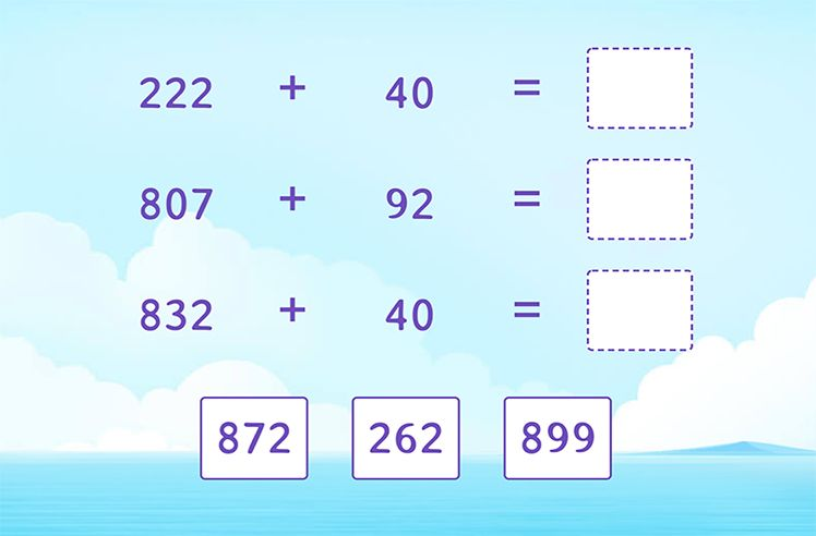 Add 3-Digit and 2-Digit Numbers and Match