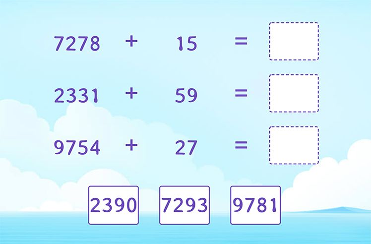 Add 4-Digit and 2-Digit Numbers and Match