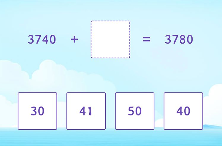 Unknown in 4-Digit and 2-Digit Addition