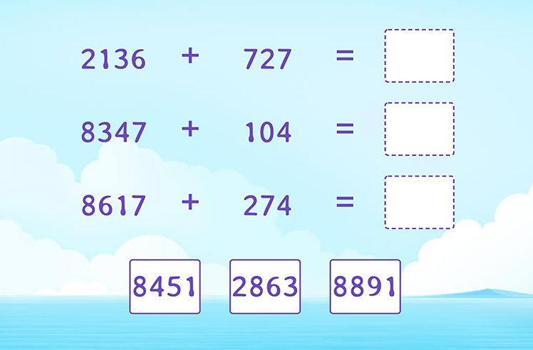Add 4-Digit and 3-Digit Numbers and Match