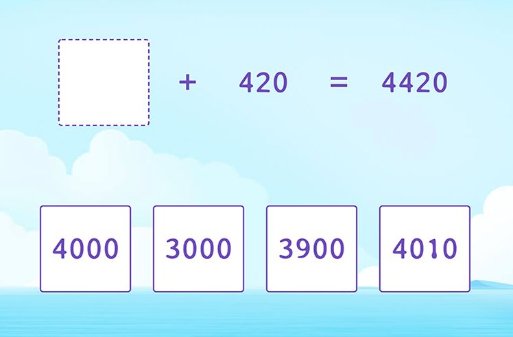 Unknown in 4-Digit and 3-Digit Addition