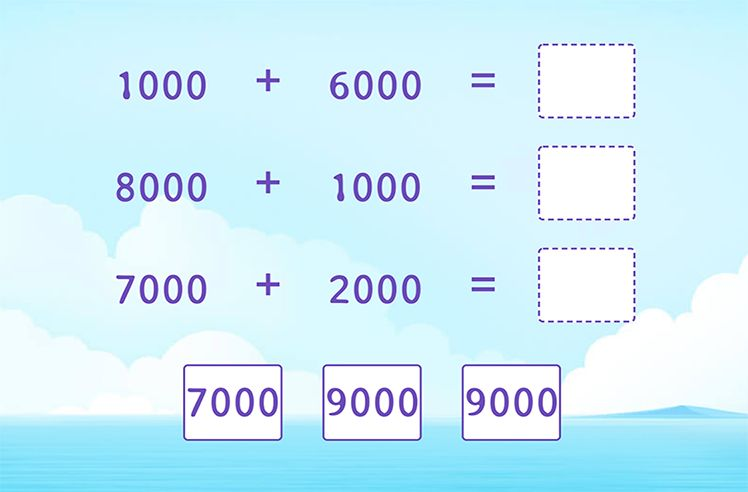 Add 4-Digit and 4-Digit Numbers and Match