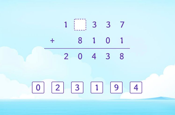 Identify the Missing Numbers in the Addition Solution