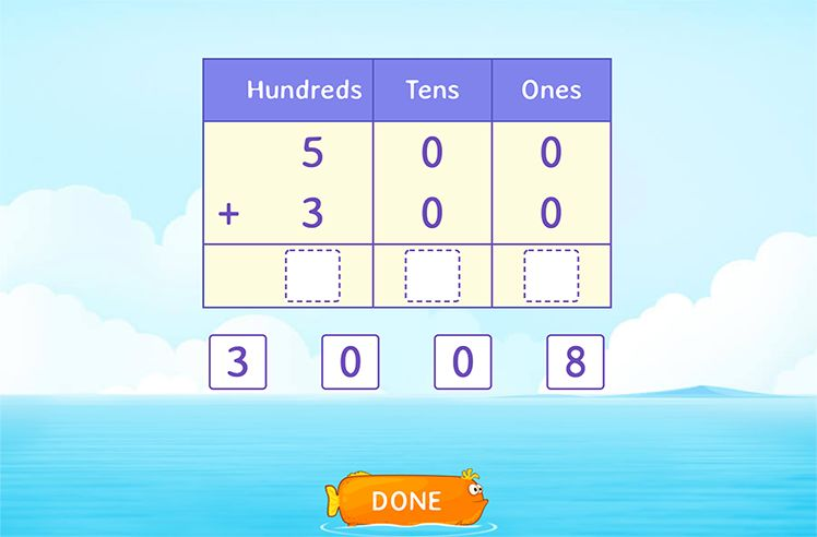 Add Multiples of 100 Using Place Value Chart