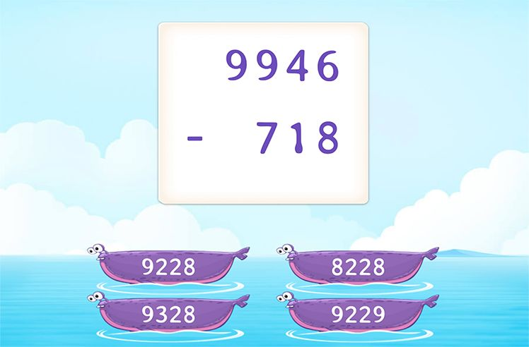 Regroup to Subtract 3-Digit From 4-Digit Number