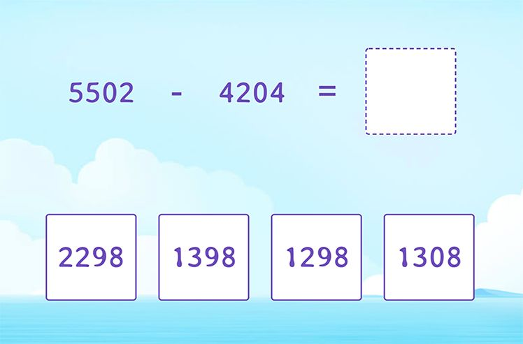Regroup Twice and Subtract Two 4-Digit Numbers