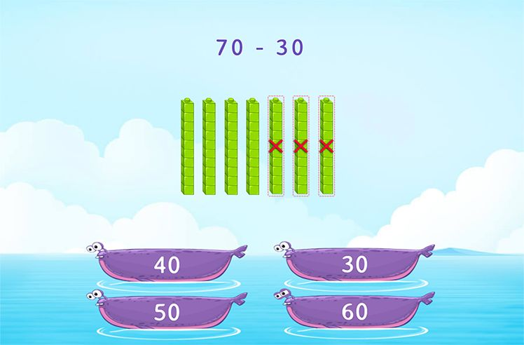 Subtract Multiples to 10 using Visuals