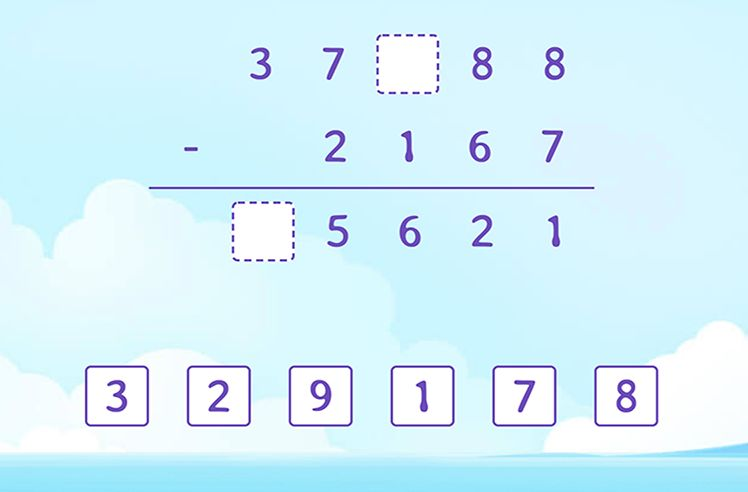 Identify and FIll the Missing Number in the Subtraction Solution