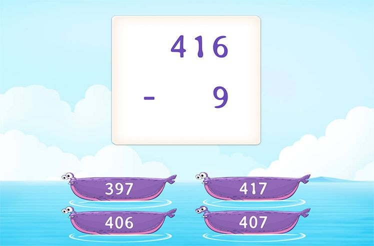 Regroup and Subtract 1-Digit From 3-Digit Numbers