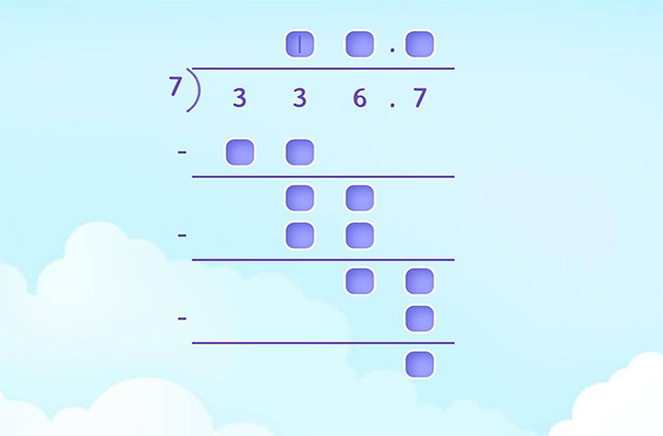 Fill Missing Numbers in Long Division of Decimals