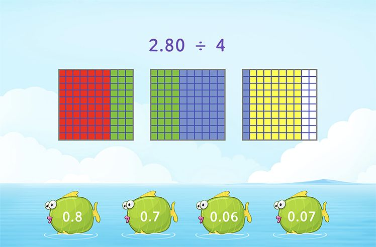 Divide Decimal by Whole Numbers Using Models