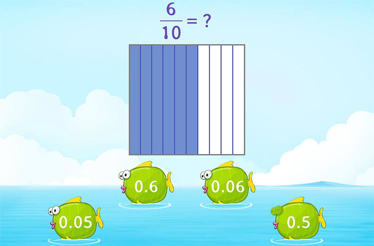 Identify Decimal Numbers Using Fraction Models