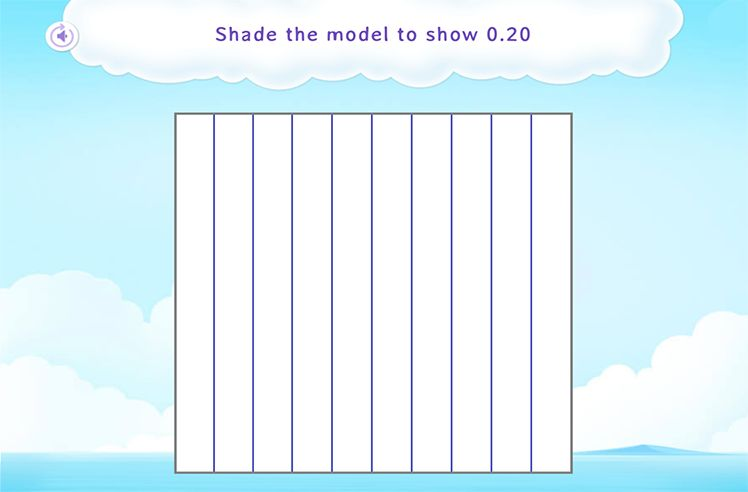 Shade the Fraction Model to Represent Hundredths as Tenths