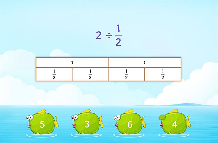 Divide Whole Number by Unit Fraction using Models