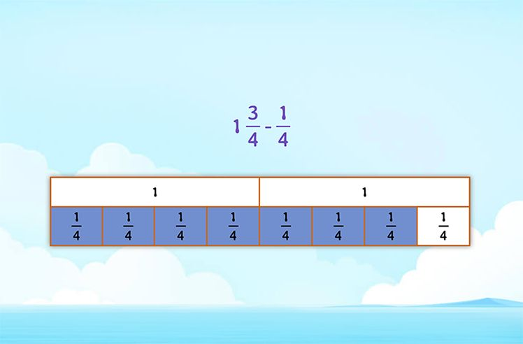 Cross Out to FInd the Difference Between a Mixed Number and a Fraction