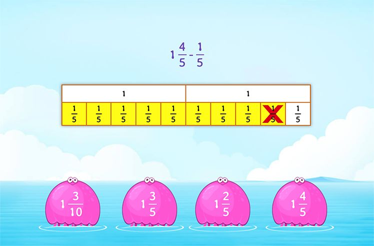 Subtract a Fraction from Mixed Number Using Models