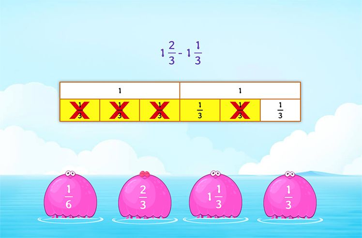 Subtract two Mixed Numbers Using Models