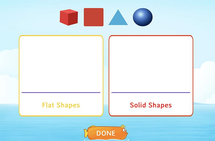 Sort Flat and Solid Shapes