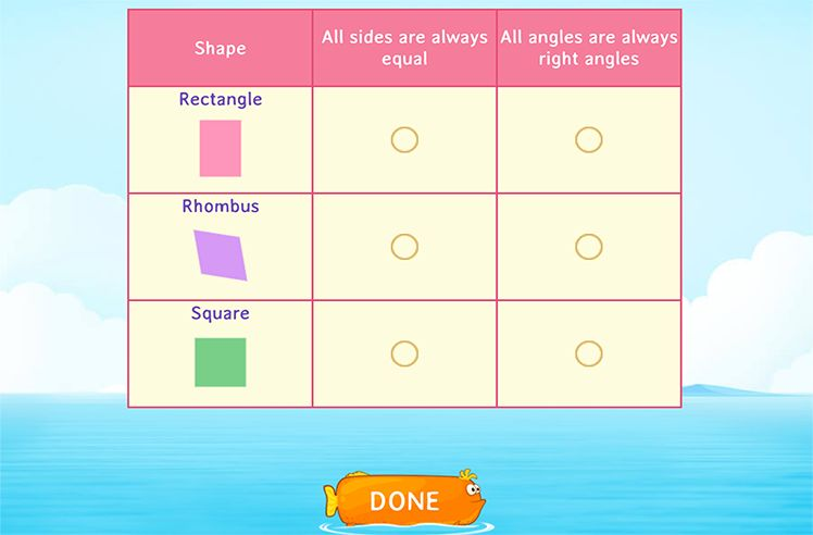 Identify Attributes of 2D Shapes