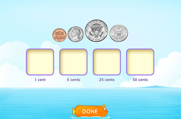 Identify and Match Coins to their Values