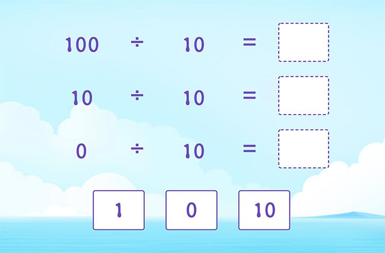 Divide by 10 and Complete the Division Sentences