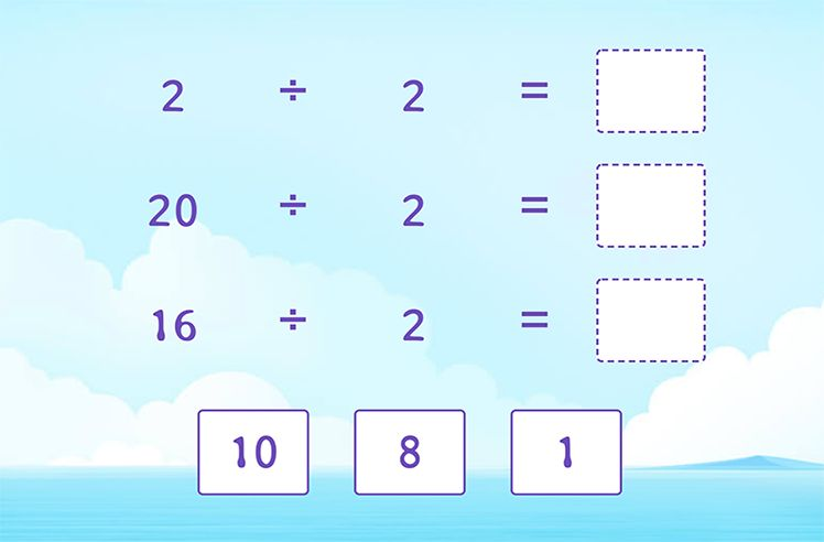 Divide by 2 and Complete the Division Sentences