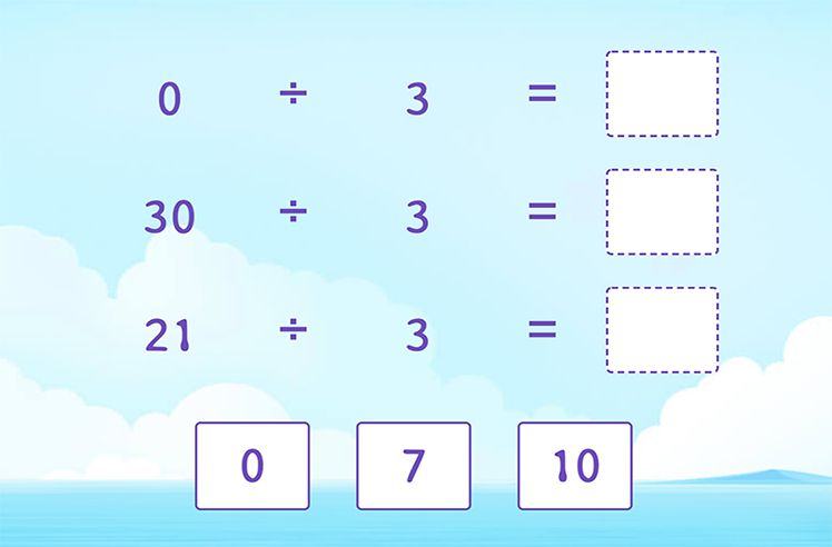 Divide by 3 to Complete the Division Sentences