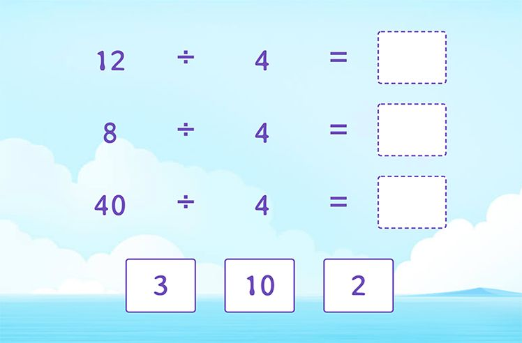 Divide by 4 to Complete the Division Sentences
