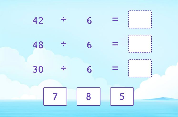Divide by 6 to Complete the Division Sentences