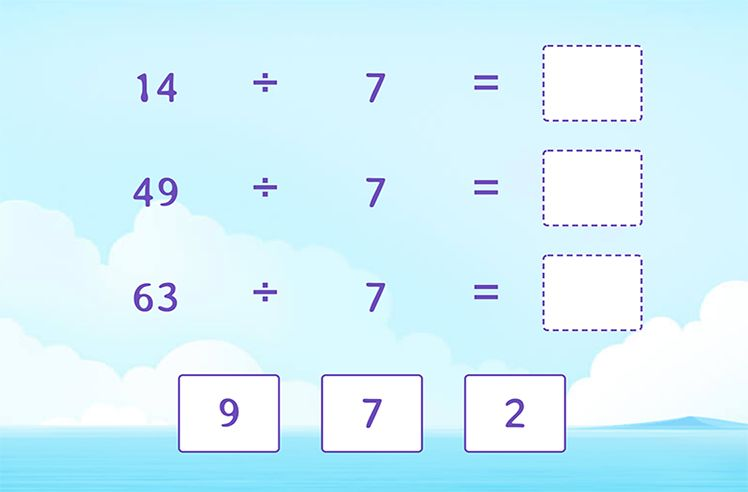Divide by 7 to Complete the Division Sentences