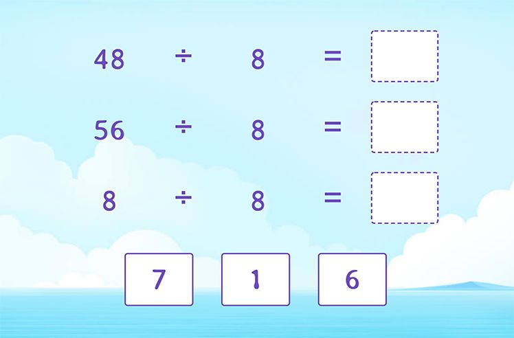 Divide by 8 to Complete the Division Sentences