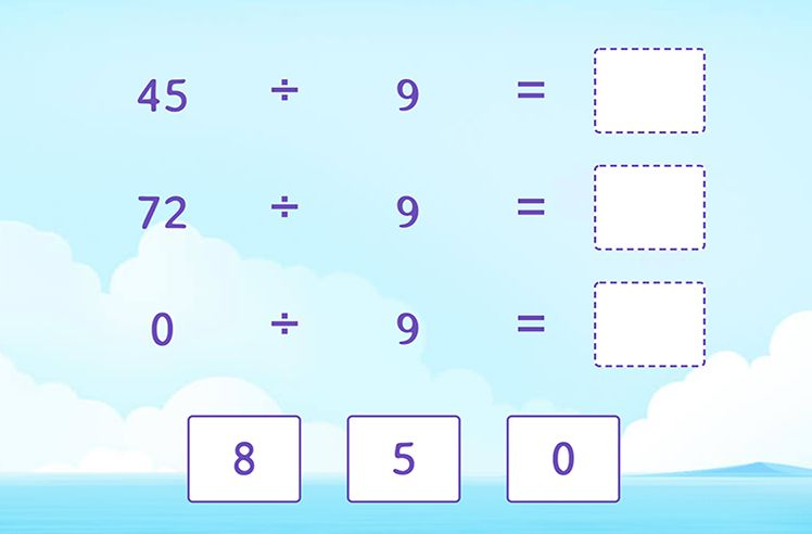 Divide by 9 to Complete the Division Sentences