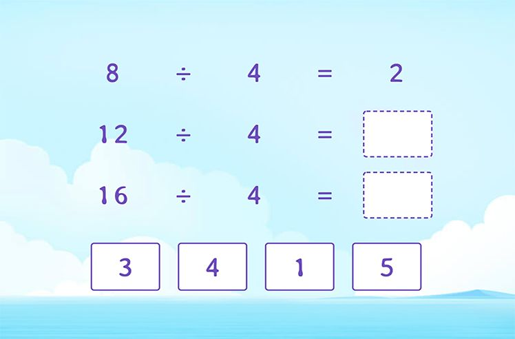 Divide by 4 to Complete the Division Patterns