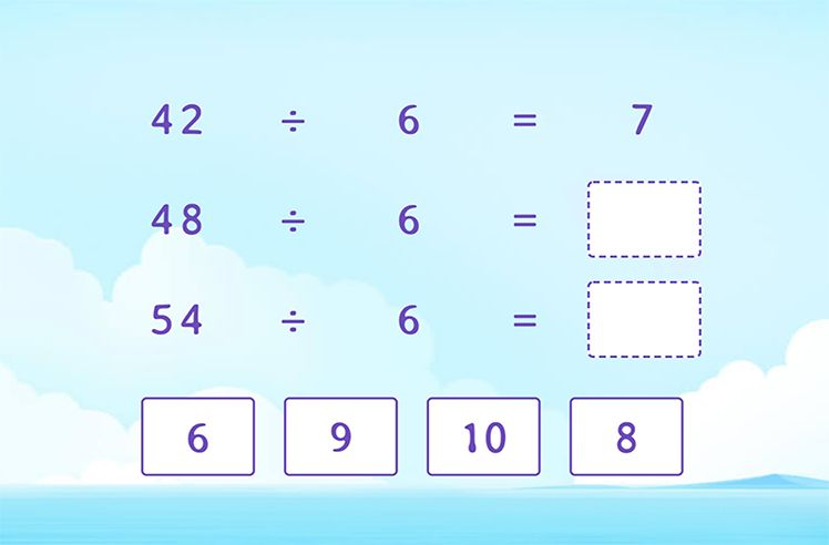 Divide by 6 to Complete the Division Patterns