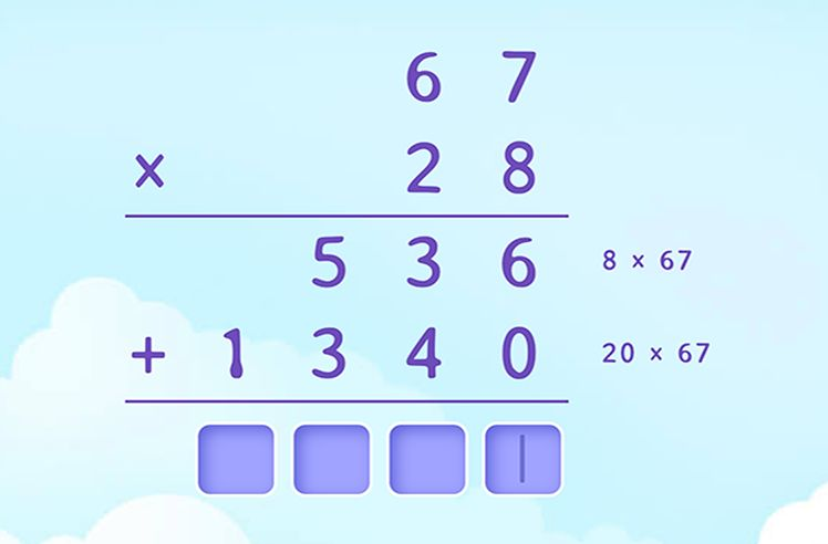 Complete the Multiplication of Two 2-Digit Numbers