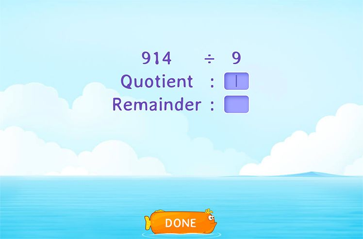 Divide and Fill in the Quotient and Remainder