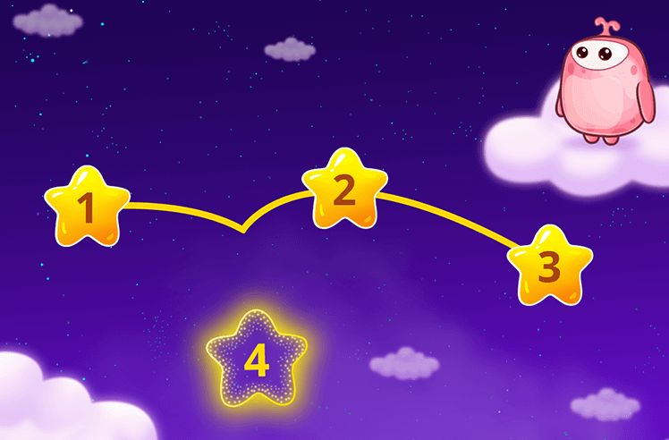 Connect the Number Stars from 1 to 5
