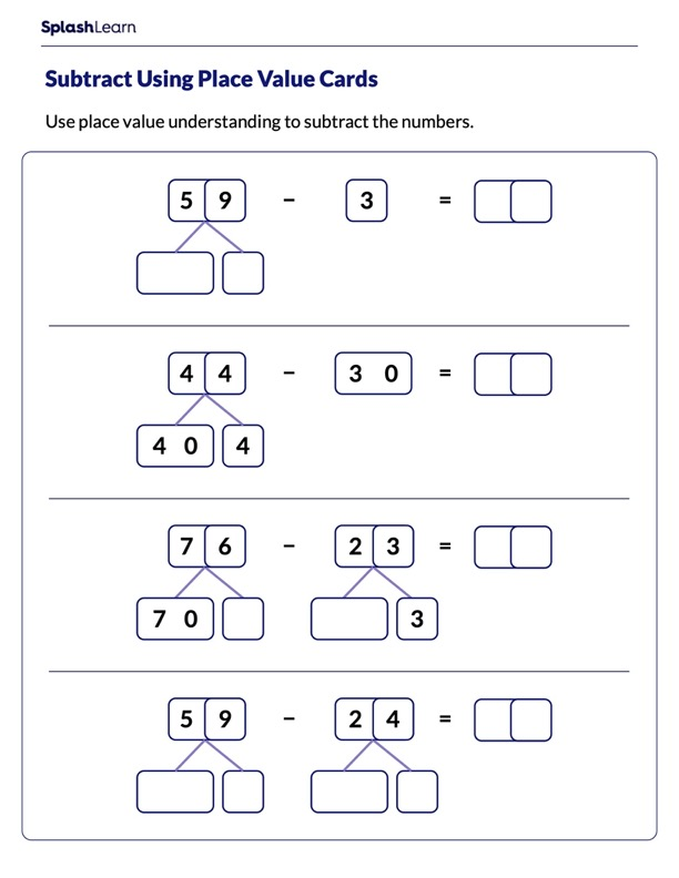 Use Place Value Cards to Subtract