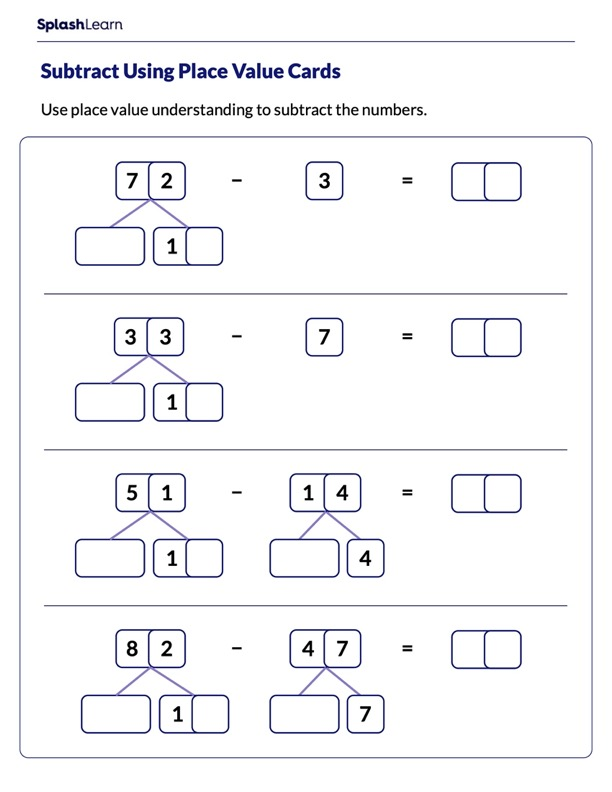 Subtract Using Place Value Cards With Regrouping
