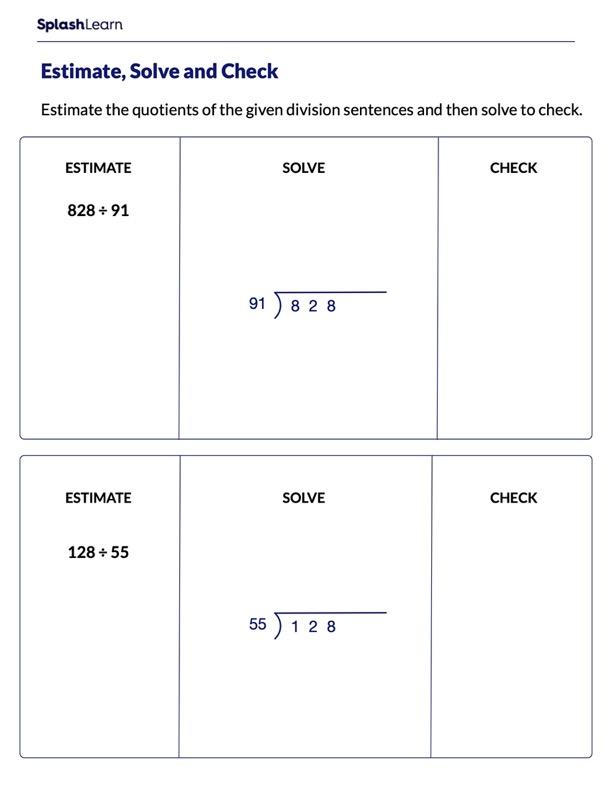 Estimate Quotients, Divide and Check