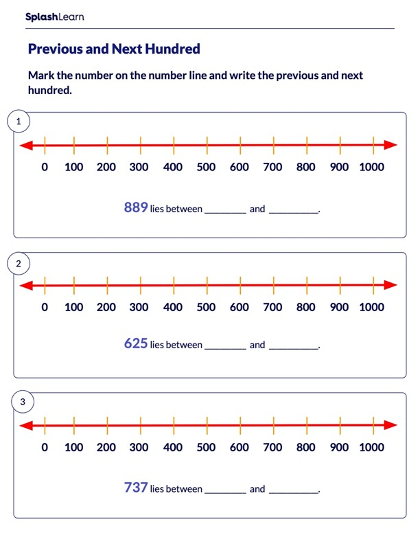 Mark the Previous and Next Hundred on Number Line