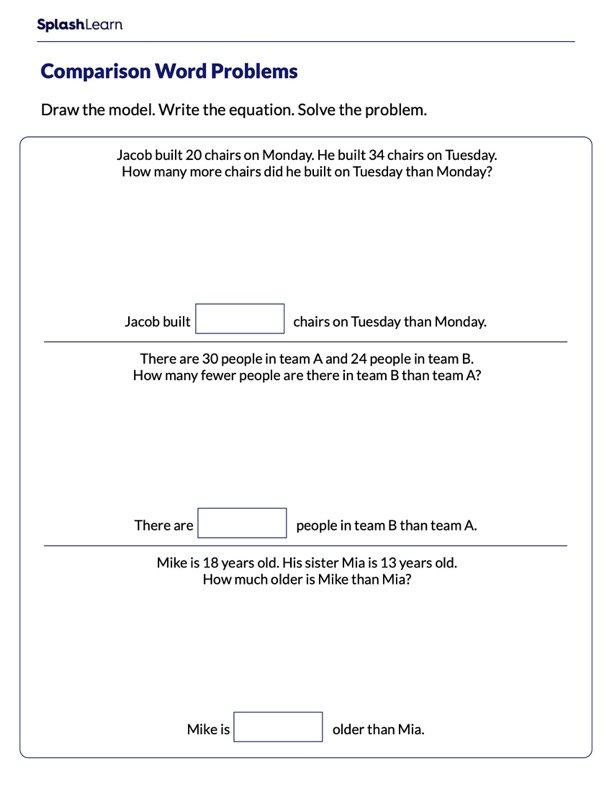 Word Problems on Subtraction Using Bar Model