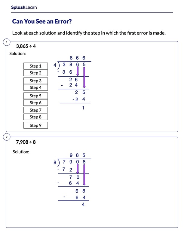 Identify the Error in Division Sums