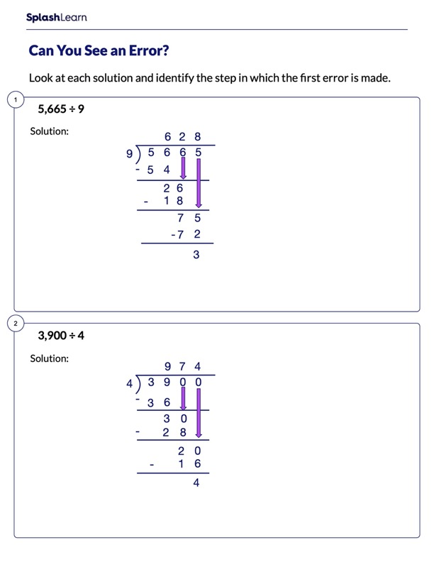 Spot the Error in Division Sums