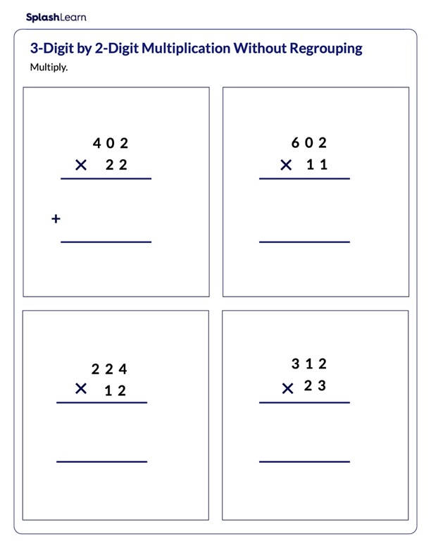 Multiply 3-Digit by 2-Digit without Regrouping