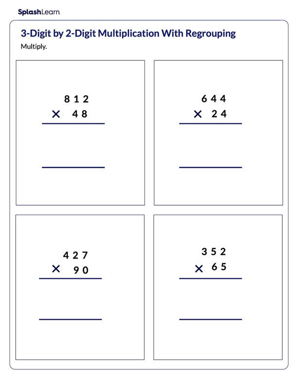 Multiply 3d and 2d Numbers with Regrouping