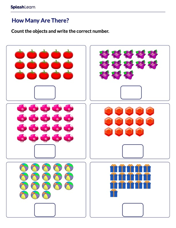Count upto 20 using Objects